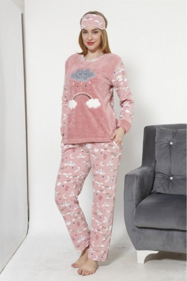 Toptan Kadın Bulut Desenli Vizon Polar Pijama Takımı